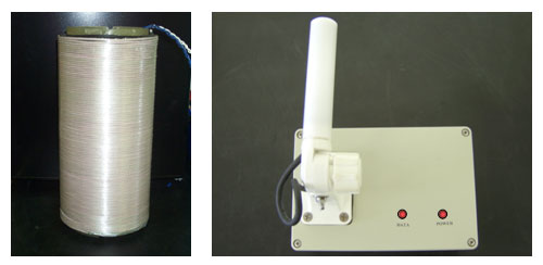 Photographs of the Magneto-Inductive transmitter antenna (left) and receiver (right).