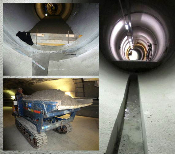 GAST experiment, Grimsel - Preparation of tunnel floor